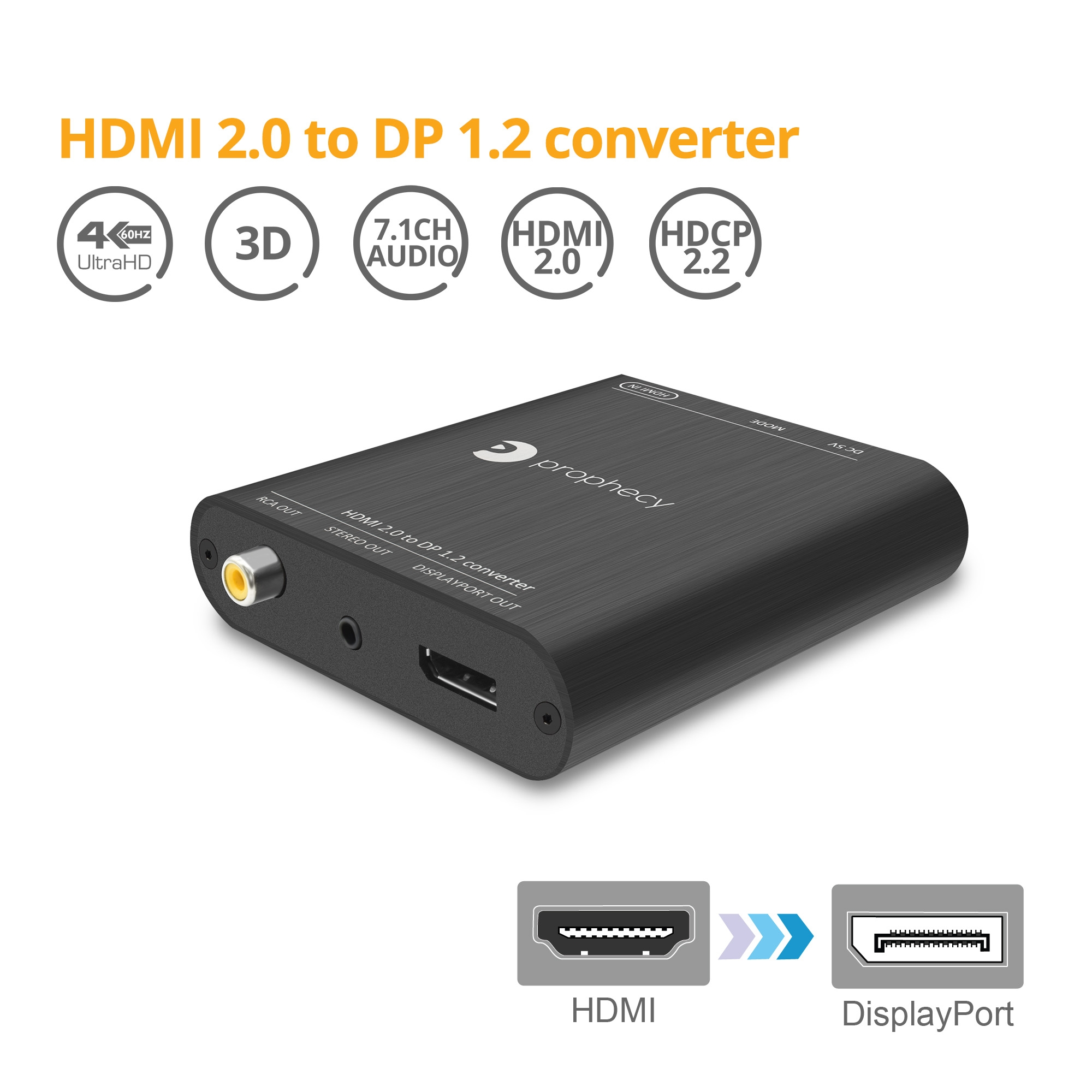 Prophecy HDMI 2 0 to DisplayPort 1 2 Converter/Adapter (PRO-HDMI2DP)