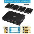 1x Transmitter and 4x Receiver HDBaseT HDMI Extender Splitter gofanco