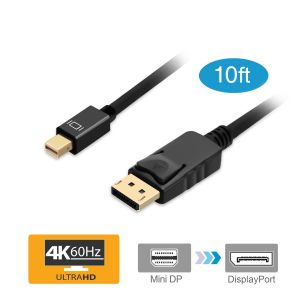 10ft Mini DisplayPort to DisplayPort v1.2 Cable – Black (mDPDP10F)