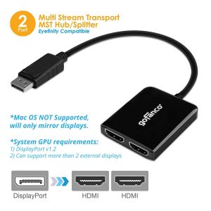 DisplayPort MST Hub to 2x HDMI (DPMST2HDMI)