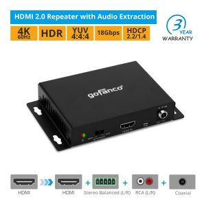 HDMI 2.0 Repeater with Audio Extraction (HDAudExt)
