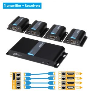 4-Port HDMI Extender/Splitter over CAT5e/6 with IR – 130ft (40m) (HDMIExt4P)
