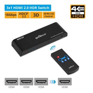 3x1 HDMI 2.0 HDR Switch with Remote (HDRswitch3P)