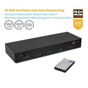 Prophecy 4x4 HDMI Matrix 4K HDR HDMI 2.0 with Auto Downscaling (PRO-Matrix44-SC)