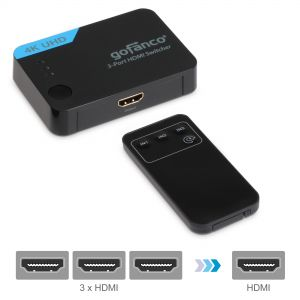 3-Port 4K HDMI Switch with Remote – Black (Switcher3P)