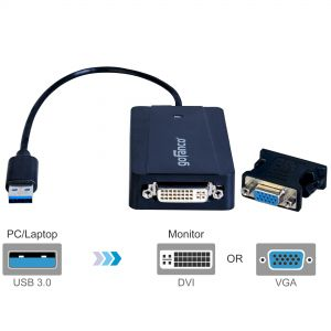 USB 3.0 to DVI/VGA Video Adapter – Black (USB3DVI)