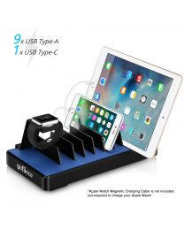 10-Port USB Charging Station Organizer (Black) with devices charging gofanco