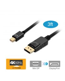 3ft Mini DisplayPort to DisplayPort v1.2 Cable – Black (mDPDP3F)