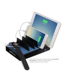 EdgeS 7-Port USB Charging Station Organizer (black) with devices