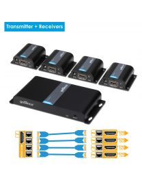 1x transmitter and 4x receiver hdmi extender splitter gofanco