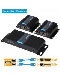 1x transmitter and 2x receiver hdmi extender splitter gofanco