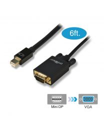 6ft Mini DisplayPort to VGA Adapter Cable – Black (mDPVGA6F)