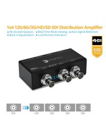 1x4 12G/6G/3G/HD/SD-SDI Distribution Amplifier/Splitter gofanco