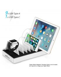EdgeS 7-Port USB Charging Station Organizer white with devices charging gofanco