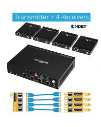 1x Transmitter and 4x Receiver HDBaseT HDMI Extender Splitter gofanco