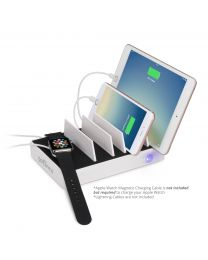 EdgeS 5-Port USB Charging Station Organizer (White) with devices charging