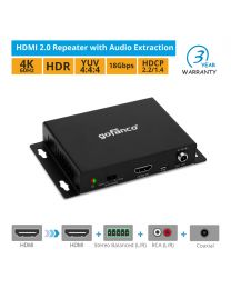 HDMI 2.0 Repeater with Audio Extraction - 4K HDR 60Hz HDCP 2.2