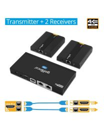 1x Transmitter and 2x Receiver 4K HDMI Extender Splitter gofanco