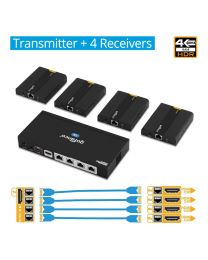 1x Transmitter and 4x Receiver 4K HDMI Extender Splitter gofanco