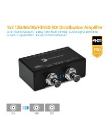 1x2 12G/6G/3G/HD/SD-SDI Distribution Amplifier/Splitter gofanco