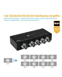 1x8 12G/6G/3G/HD/SD-SDI Distribution Amplifier/Splitter gofanco