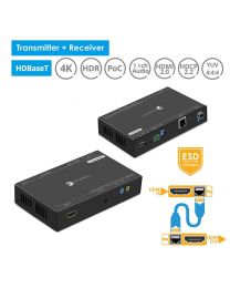 HDBaseT Transmitter and Receiver HDMI Extender Kit 4k HDR USB Extension gofanco