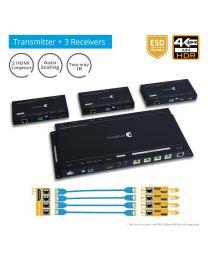 4K HDR 1x4 Splitter over HDBaseT (PRO-HDBaseT4P)