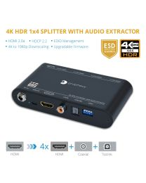4K-HDR 1x4 Splitter with Audio Extractor (PRO-HDRsplit4P-Aud)