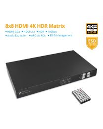 8x8 HDMI 2.0 Matrix 4K HDR with Audio Extractor (PRO-Matrix88-aud)