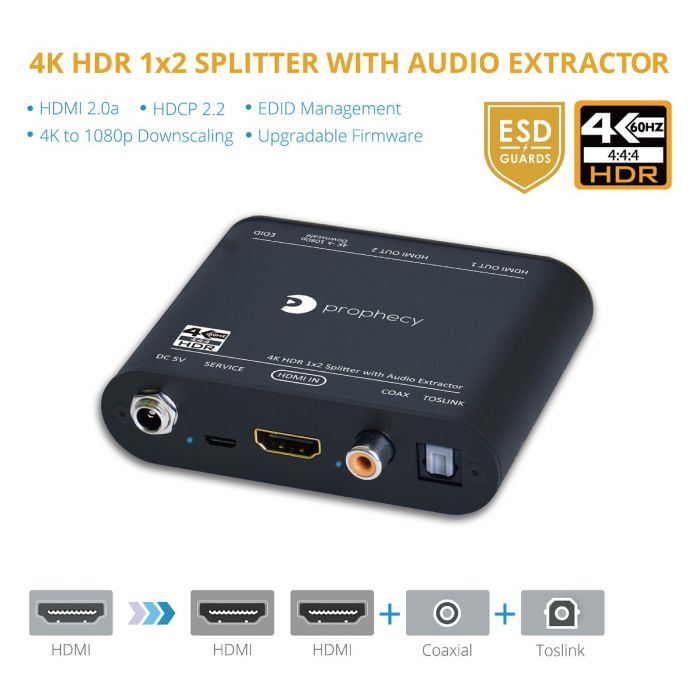 4K-HDR 1x2 Splitter with Audio Extractor (PRO-HDRsplit2P-Aud)