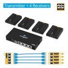1x Transmitter and 4x Receiver 4K HDMI Extender Splitter gofanco